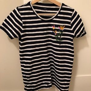 Jcrew striped t-shirt with flower embroidery